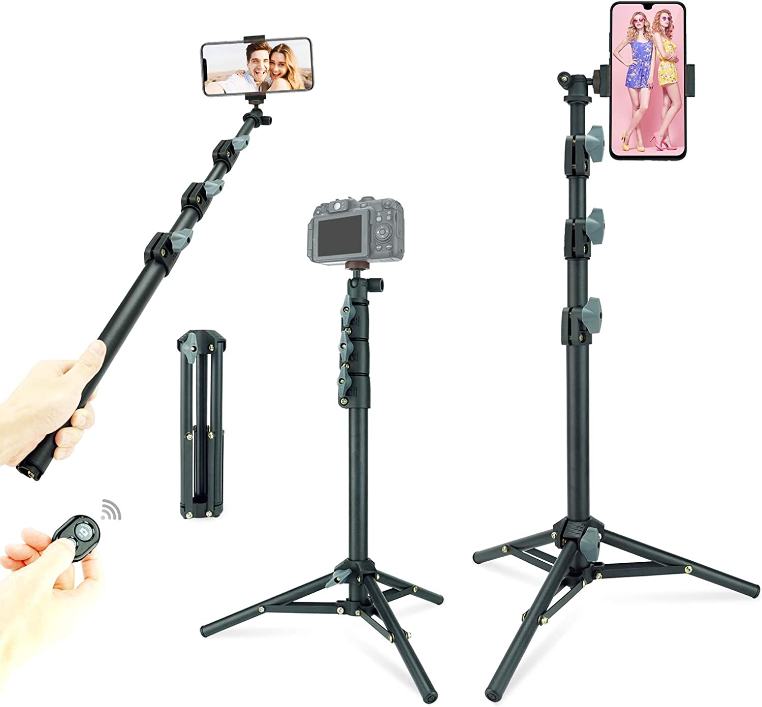 """Selfie Stick & Tripod LINCO, Integrated, Portable All-in-One Professional, Heavy Duty, Lightweight, Bluetooth Remote for Apple & Android Devices, Separable Tripod Feet, Extends to 52"""", Black"""