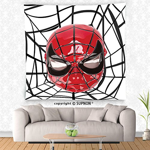 VROSELV custom tapestry Superhero Tapestry Wall Hanging Hero Mask with Spider Eyes and Web Art Print Fun Kids Cartoon Character Image Bedroom Living Room Dorm Decor White Red Black