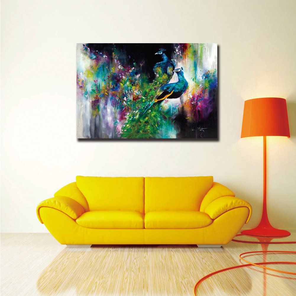 Amazon.com: ShuaXin Modern Wall Decor Art 1 Piece Two Peacocks ...