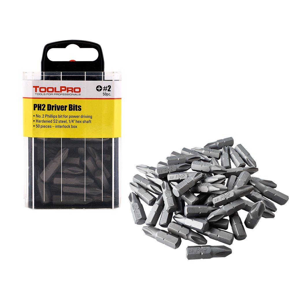 ToolPro #2 Phillips Bits (50 Pack) in Interlocking Storage Box