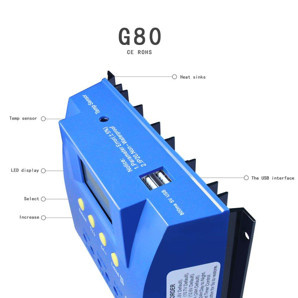 y-solar 60 A 80 A PWM controlador de carga solar Batería regulador retroiluminación LCD USB (G80): Amazon.es: Jardín