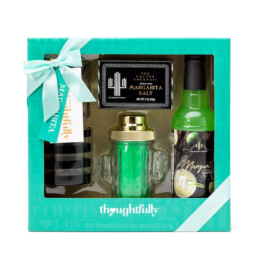 Thoughtfully Gifts, Cactus Margarita Shaker Gift Set, Contains Cactus Cocktail Shaker, Margarita Mixer, Rimming Salt, and 2 Lowball Glasses