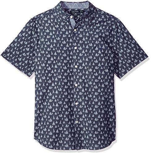 Nautica Men's Short Sleeve Signature Print Button Down Shirt, Maritime Navy, Medium