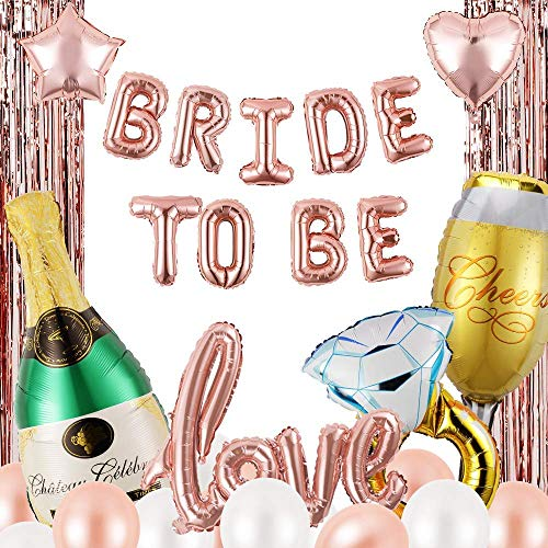 Lazy Brands - Bachelorette Decorations Kit | Bride to be Balloons | Bridal Shower Supplies | Hen Party | Champagne Bottle | Rose Balloons | Tinsel | 31 pcs