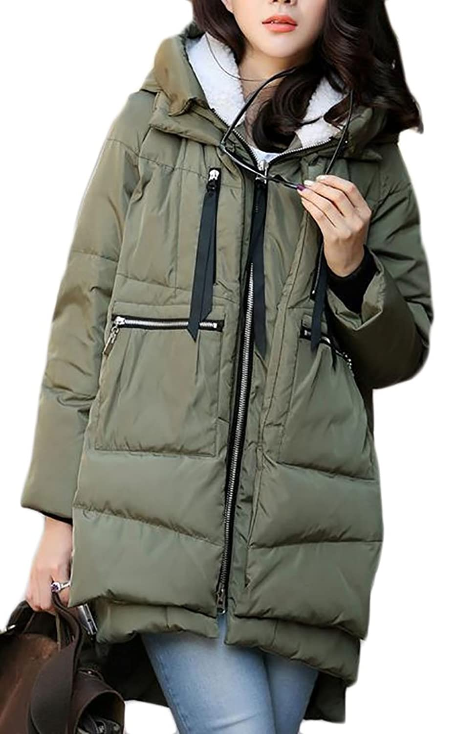 Pandapang Womens Military Outwear Overcoat Hooded Winter Down Coat Parkas