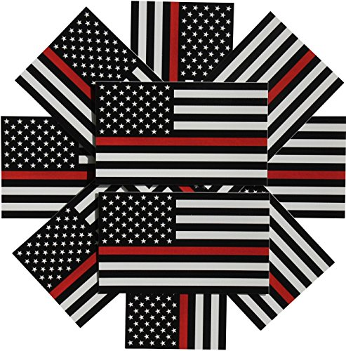 Womens Black Maltese - Thin Red Line Flag Decal - 3x5 in. Black White and Red American Flag Sticker for Cars, Trucks, and SUVs - In Support of Firefighters and EMTs (10-Pack)