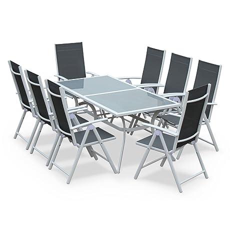 Alices Garden - Comedor de Jardin, Conjunto de Mesa y sillas de Aluminio y textileno - Blanco/Gris - 8 plazas - NAEVIA