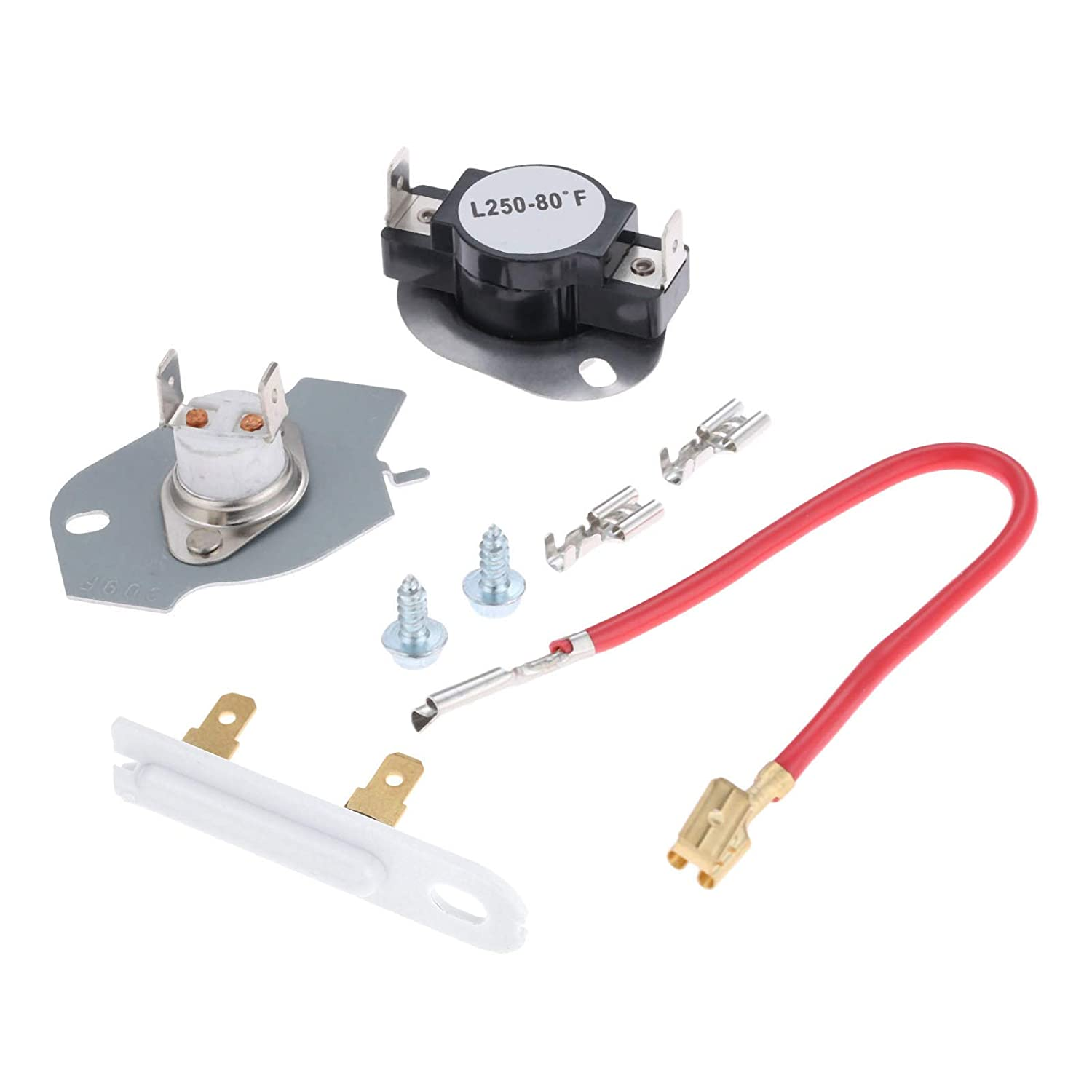 279816 Dryer Thermostat Kit, Replace Part # AP3094244 3399848 3977393 & 3392519 Dryer Thermal Fuse Replace Part # 3388651 306910 3387135, Replacement Fit for Whirlpool, Kenmore, Kitchen Aid, Maytag