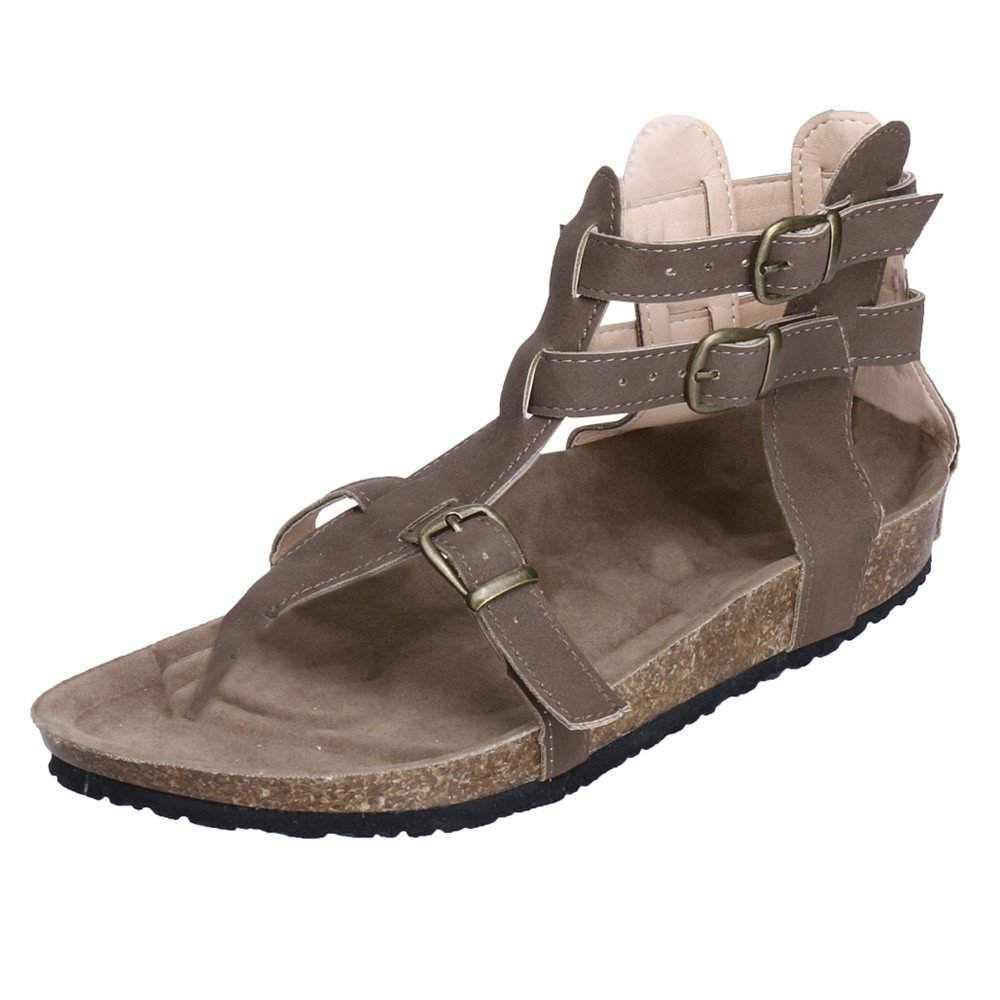 Women Sandals THENLIAN Ladies Leather Buckle Sandals Fashion Buckles Flat Ankle Beach Shoes Roman Slippers(42, Brown)