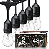 SUNTHIN 2 Pack 48FT Outdoor String Lights with 11W Dimmable Edison Bulbs for Decorative Backyard, Patio, Bistro, Pergola Comm