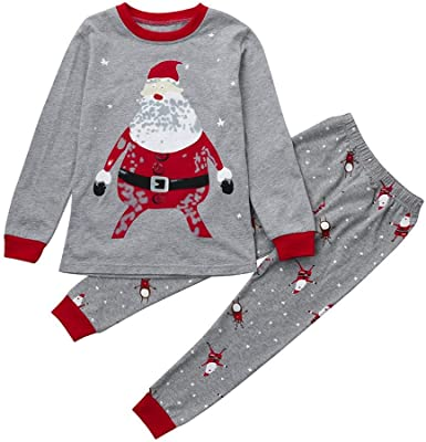 Toddler Baby Boy Girl Long Sleeve Pant Sets Pants Christmas Cartoon Outfit Hooded Sweatshirts