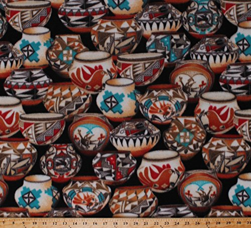 (Fleece Tribal Pots Jars Bowls Vases Earthenware Pottery Southwest Southwestern Native American Painted-Look Rust Turquoise Native Pots on Black Fleece Fabric Print by the Yard (43431-4b))
