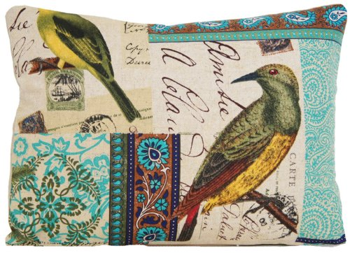 Arcobaleno London Birds Design Decorative Pillow Throw Case Pattern Tokelau Island Turquoise 16