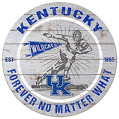 "KH Sports Fan 20""x 20"" Kentucky Wildcats Throwback Weathered Circle Sign"
