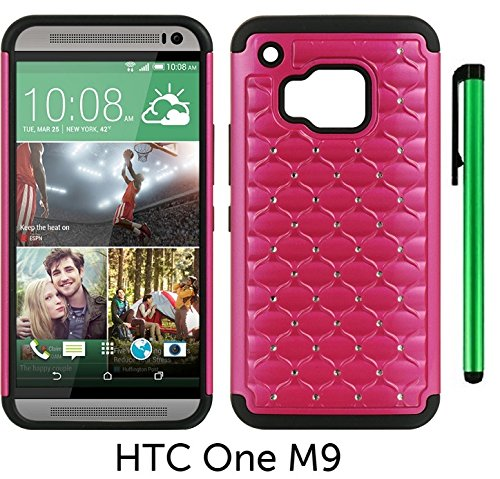 Leather Diamond Htc Touch - HTC One M9 (2015 HTC New Flagship Android Phone; US Carrier: Verizon Wireless, AT&T, Sprint, and T-Mobile) Hybrid Spot Diamond Phone Case - Premium Spot Diamond 2-layer Hybrid Protector Cover Case + 1 of New Metal Stylus Touch Screen Pen (PINK)