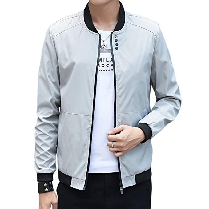 Amazon.com: MeterMall Unique Style Men Simple Casual Baseball Jacket Solid Color Stand-up Collar Coat Black L: Clothing