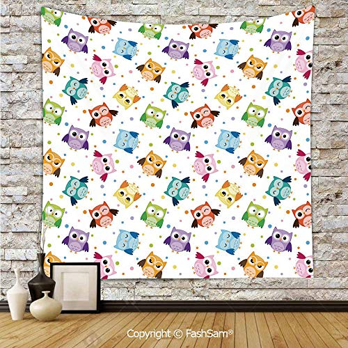 FashSam Polyester Tapestry Wall Dotted Background Colorful Owls Various Facial Expressions Angry Happy Confused Decorative Hanging Printed Home Decor(W51xL59)]()