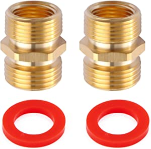 """Litorange (2 Pack Industrial Metal Brass Garden Hose to Pipe NPT Fitting Connect, Green Thumb Quick Swivel Connector Adapter,Double Male Thread Size GHT 3/4"""" x 3/4 NPT Inch"""