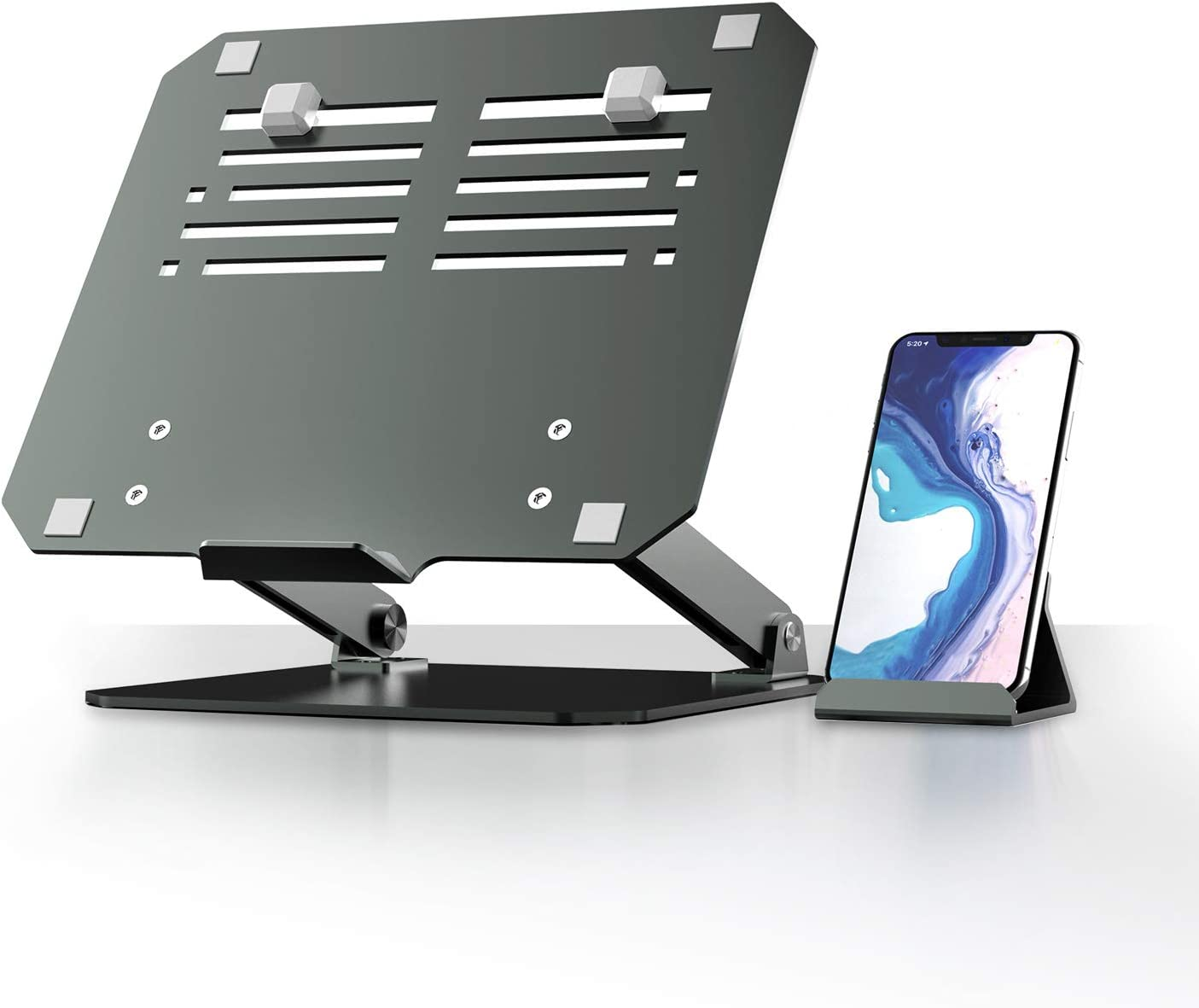 Aluminum Laptop Stand with Phone Holder,Yikola Height&Angle Adjustable Laptops Elevator for Desk, Foldable Notebook Mount Computer Riser with Heat-Vent &Keyboard Desk Storage