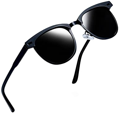 7195e86170 Joopin Semi Rimless Polarized Sunglasses Women Men Retro Brand Sun Glasses  (Black Metal  Amazon.in  Clothing   Accessories