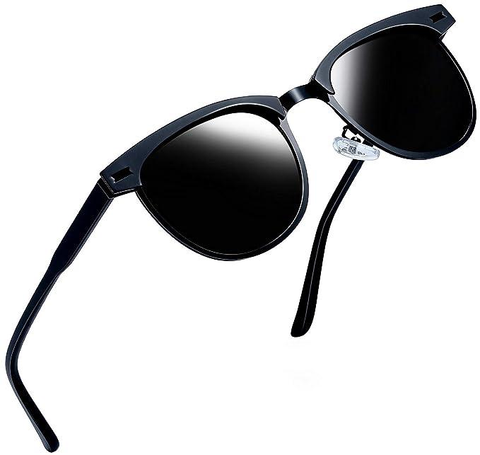 93b1325df82d Joopin Semi-Rimless Polarized Sunglasses Women Men Brand Vintage Sun Glasses  (Black Metal)  Amazon.co.uk  Clothing