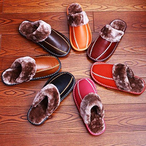 CWAIXXZZ pantoufles en peluche Accueil Chaussons en cuir dhiver chaud des couples une lame de plancher dépaisseur entre les hommes et les femmes dans la première couche Chaussons en cuir ,27cm (39-4