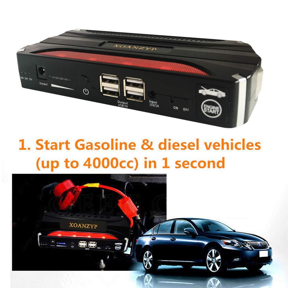 Amazon.com: XOANZYP Portable 68800mah Car Jump Starter Emergency Charger for Petrol & Diesel Car Mobile Power Supply Backup Battery 4 USB Port Flashlight ...
