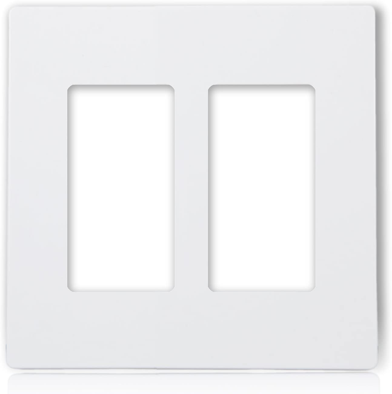 Maxxima 2 Gang Decorative Outlet Screwless Wall Plate, White, Multi Outlet, Standard Size (Pack of 10)
