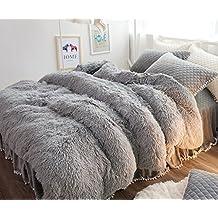 Ceruleanhome 1pc 100% Velvet Flannel Duvet Cover, Solid Color, No Inside Filler (Queen 1pc Duvet Cover, Grey)