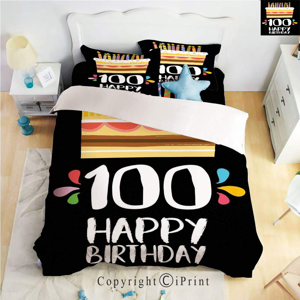 Homenon Bedding 4 Piece Sheet,Old Legacy 100 Birthday Party Cake Candles on Black Backdrop,Multicolor,Full Size,Suitable for Families,Hotels