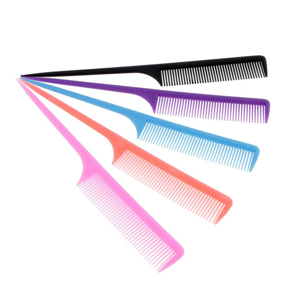 perfk 5x Pettine Per Capelli Salone Pennello Styling Parrucchiere Ratto Coda Pin Strumento Pettine Di Plastica