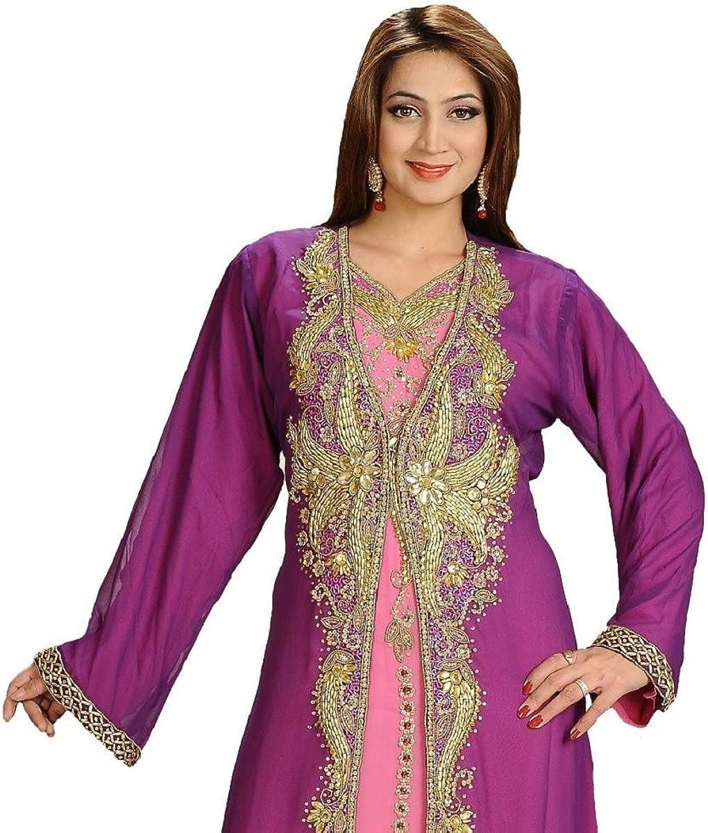 Black Arabian Kaftan Gown Tunic Crystal Embellished Chiffon Caftan Jalabiya Maxi