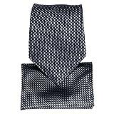 DiBanGu Gray Necktie for Men Silk Tie Pocket Square Set Business Formal