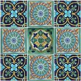 """Color y Tradicion 9 Mexican Tiles 4""""x 4"""" Hand Painted Talavera F-30"""