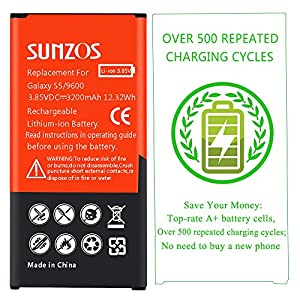 Galaxy S5 Battery, SUNZOS 3200mAh Li-ion Replacement Battery for Samsung Galaxy S5 [ I9600, G900F, G900V ( Verizon) , G900T ( T-Mobile ), G900A ( AT&T ),G900P(Sprint)] [3 Years Warranty]