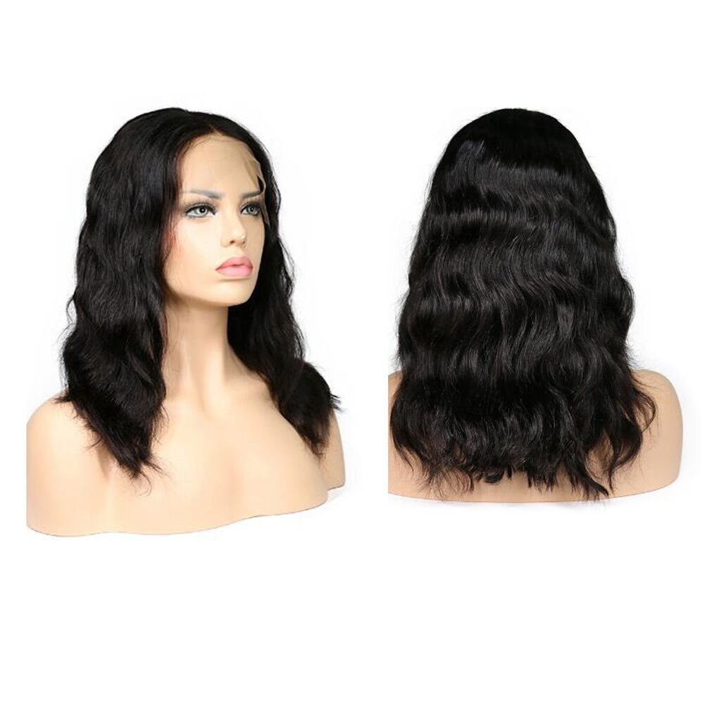 ff657cfe1 Amazon.com : Forawme Real Human Hair Full Lace Bob Wigs For Sale 10 Inch Body  Wave 1B Black Middle Size Cap Soft Cheap Glueless Bob Lace Wig 130% Density  : ...