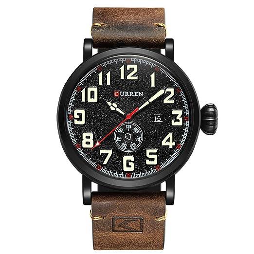 Amazon.com: CURREN - Reloj analógico de cuarzo para hombre ...