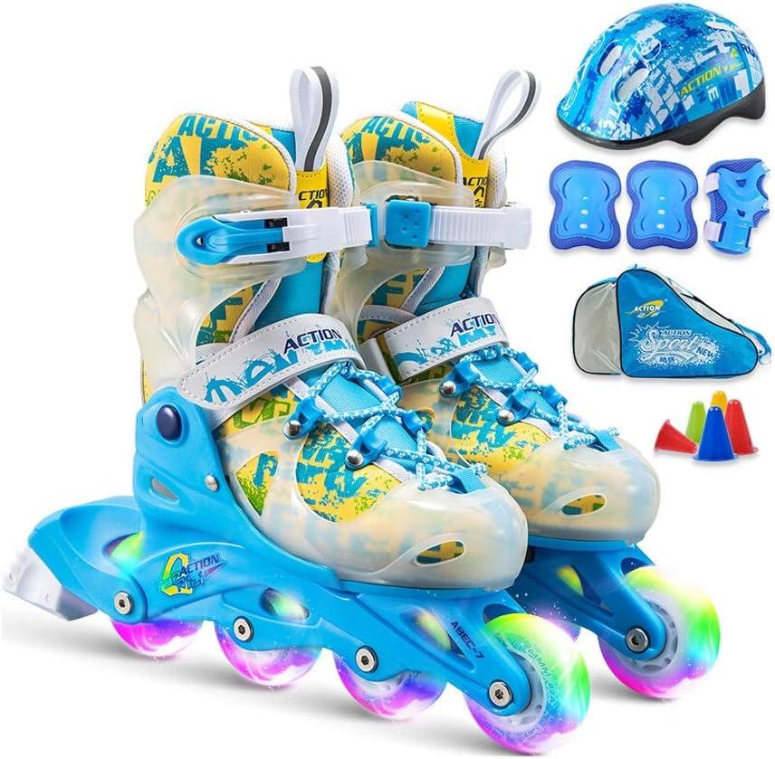 YANG 子供のための調節可能なインラインスケート、初心者のための、8つの照明車輪が付いているローラースケートをしている少年たち、青いスーツ (Size : XS(EU 26 - EU 29))  XS(EU 26 - EU 29)