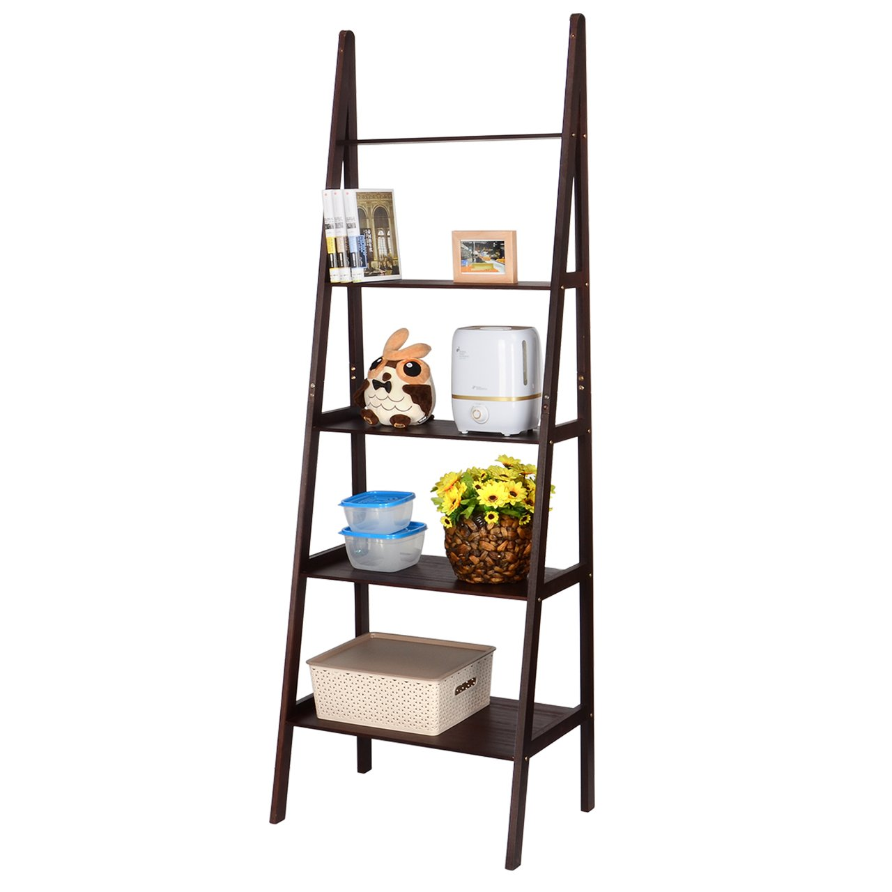 SortWise 5-Shelf A Frame Wood Ladder Shelf Bookcase, Multifunctional Storage Rack Display Wall Shelf for Plants/Books, Espresso