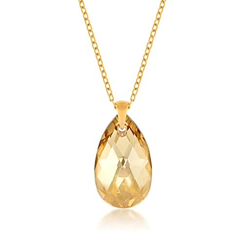 861fd5f39df37 Ed Heart Pendant Necklace with Yellow Beige Golden Shadow Pear Crystals  from Swarovski Gold Plated