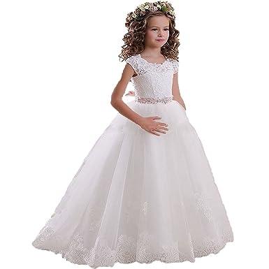 Kekehouse Dentelle Robe Longue De Ceremonie Fille Enfant Mariage Sans Manches Arc