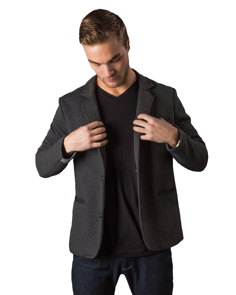 Betabrand Men's Quilted Travel Blazer L Gray by Betabrand