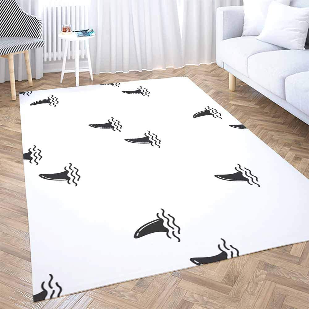 Play Area Rug,Shorping 3X5 Flower Door Area Rugs Modern Shark Fin Dolphin Whale Ocean Wave Pattern Background Space Area Rug Rugs for Living Room Large Area Rugs Area Rug for Kids