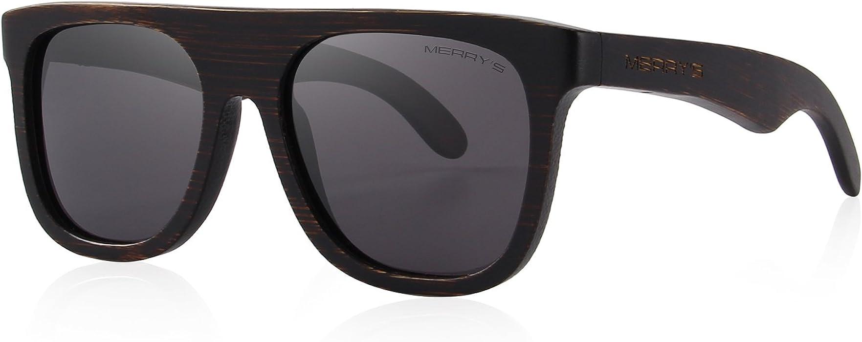 f773292c2e3 MERRY S Men Wooden Polarized Sunglasses 100% UV Protection vintage Eyewear  S5085 (Black