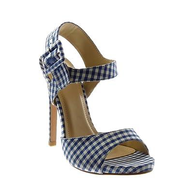 138f2b816371a4 Angkorly - Chaussure Mode Sandale Escarpin lanière Cheville Stiletto Femme  Vichy lanière Boucle Talon Haut Aiguille