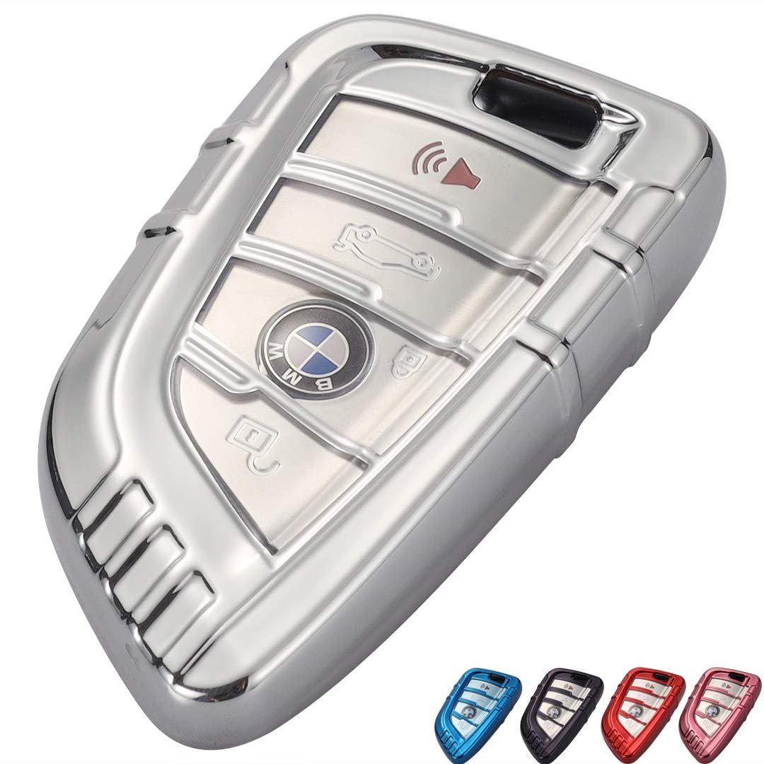 Lcyam Key Fob TPU Cover Case Fits for BMW X1 X2 X3 X5 540i 750I X6 X7 Auto Engine Start Stop silver