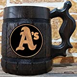 Oakland Athletics Beer Mug, Baseball Wooden Beer Stein, Sport Gift, Personalized Beer Stein, Oakland Athletics Tankard, Custom Gift for Men, Gift for Him