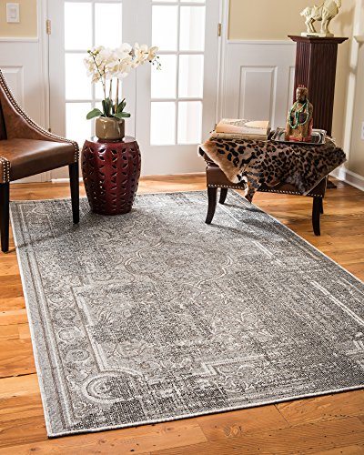 NaturalAreaRugs Turkish Regata Vintage Design Olefin, Jute, And Polyester Chenille Area Rug, Durable, Eco-Friendly, Gray Color (6 Feet 5-Inch X 9 Feet)
