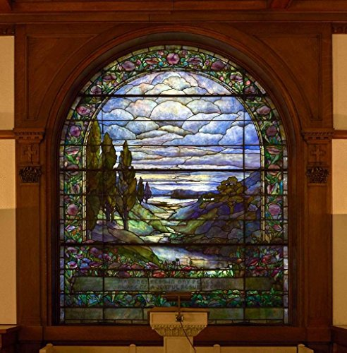Photograph | The $1-million Louis Tiffany stained-glass window in the gateway chapel of Woodland Cemetery and Arboretum, in Dayton, Ohio| Fine Art Photo Reporduction 36in x 36in