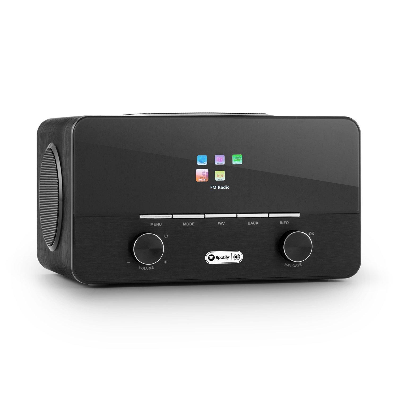 auna connect 150 BK • 2.1 Internet Radio • Digital Radio • WLAN Radio • Network Player • WiFi • LAN • Spotify Connect • DAB/DAB+/FM w/ RDS • MP3 USB port • AUX • Remote Control • Wood • Black by auna